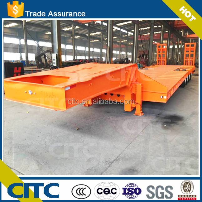 80Ton Africa used lowbed truck trailer with cheap price for excavator/crane transport