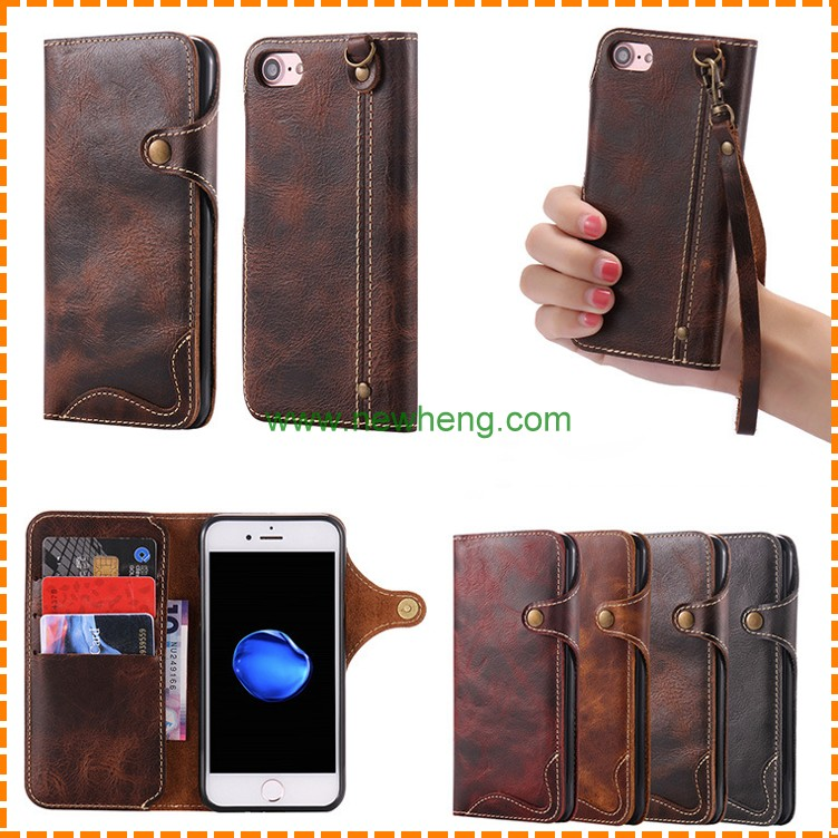 New 100% Real genuine leather universal bag cowhide phone case for iphone 7