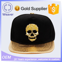 Plain Leather Brim/Visor Cap and Hat Metal Logo Custom Snapback Manufacturer