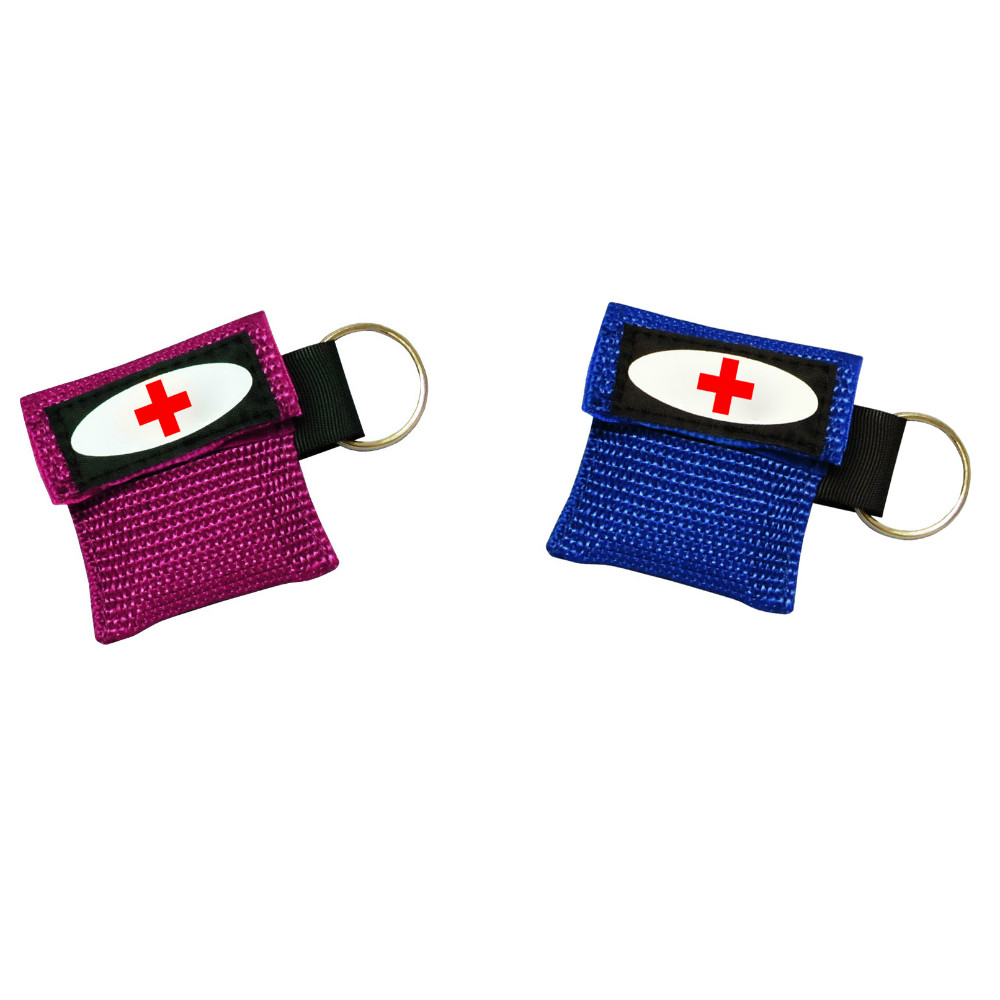 Mini Disposable face shield fabric CPR Mask Keychain, CE FDA First Aid bag pack pouch CPR Barrier Mask Key chain keyring