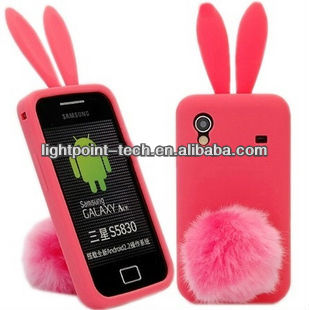 Cute mobile phone protective flip bunny silicone rabbit case for samsung galaxy ace s5830