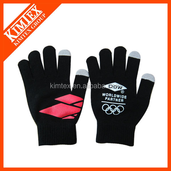 Unisex acrylic knit magic custom touchscreen gloves
