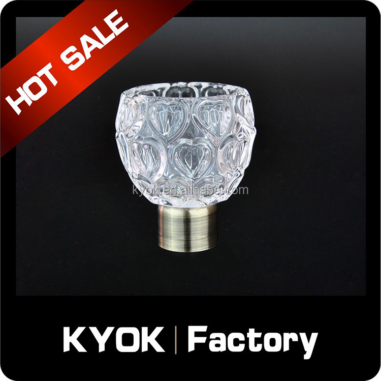 KYOK Beauty & bright crystal decorative rod end/caps, delicated clear glass curtain pole finial, flexible curtain accessories