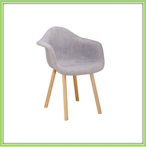 Fashion Gray Fabric Cheap Dining Wooden Chair
