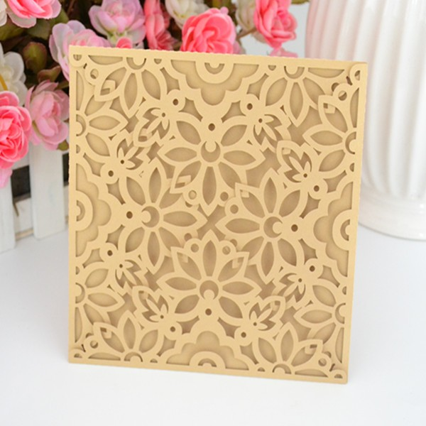 Lowest price for 4 fold invitation, multicolor cream invitation,laser cut elegant invitation for guests