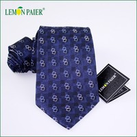 New Geometric Patterns 100% Men Blue Silk Ties