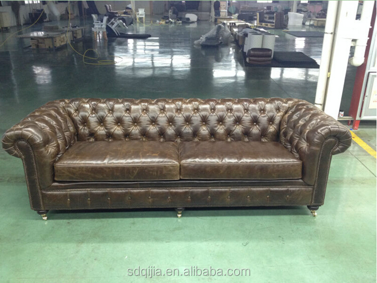 Retro Vintage chesterfield Leather Sofa