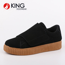 Alibaba China golden supplier factory casual design easy wear suede upper slip-on injection shoes for girls