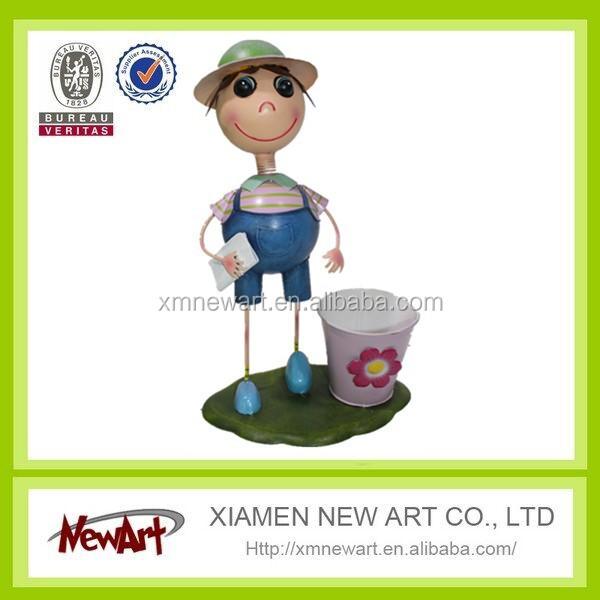 New fashion garden decoration flower pot with cute boy dolls metal decoration art planter pot wholesale