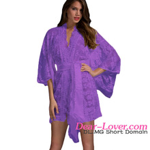 bulk wholesale Purple Belted Lace Kimono comfort nightwear