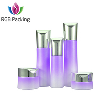 30G 50G Cosmetic Glass Jar and 30Ml 60Ml 100Ml 120Ml Purple Empty Lotion Pump Bottle