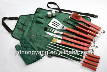 2014 new product 13 pieces stainless steel barbecue tool set with apron