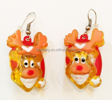 Christmas gifts reindeer design light up fancy flashing earrings for party girls