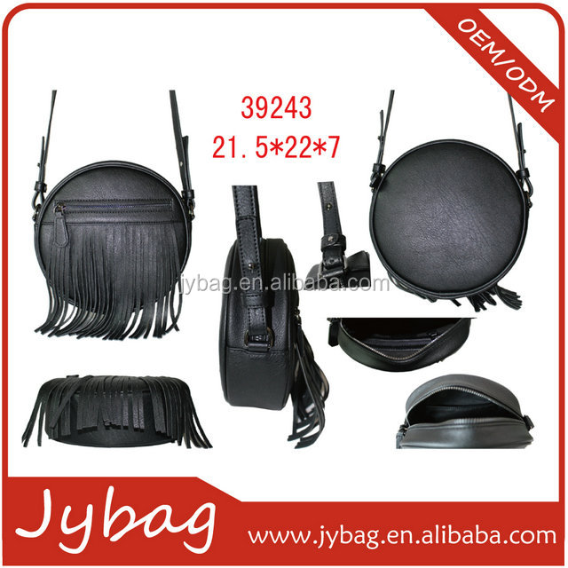 small round pu leather shoulderbag for teenage girl/tassel decorated bohemian style shoulder bag for young fasion ladies