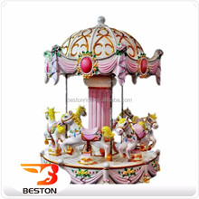 Hot sale! 6 seats coin operated carousel kiddie toy rides, merry go round, mini carousel