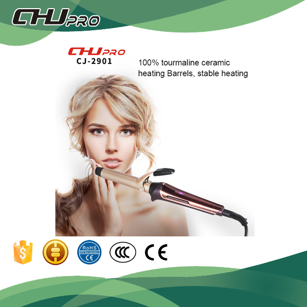Bling golden 25mm with clip-private label hair curling iron wave hair