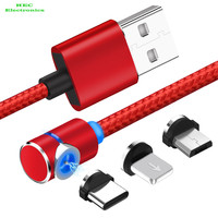 Magnetic USB Charging Cable, 3-in-1 Cable Charger with LED for I-Phone/Android,Multiple Charging Micro/Light/Type C