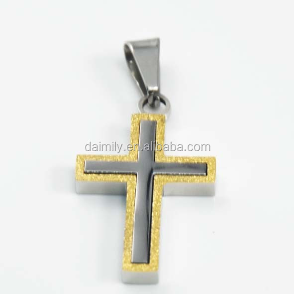 Chinese Trading Company Wholesale Fashion Stainless Steel Jewelry Plated Gold Shinning Cross Necklace Pendant