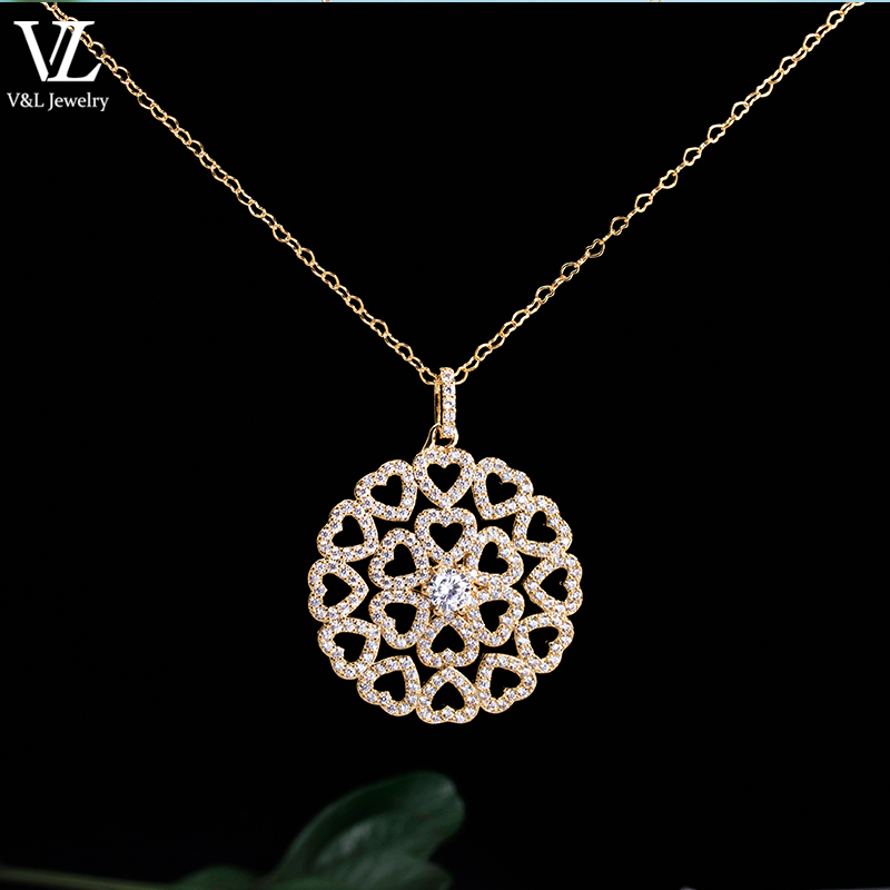 fashion jewelry lovely heart designs 18k gold pendant necklace for girl