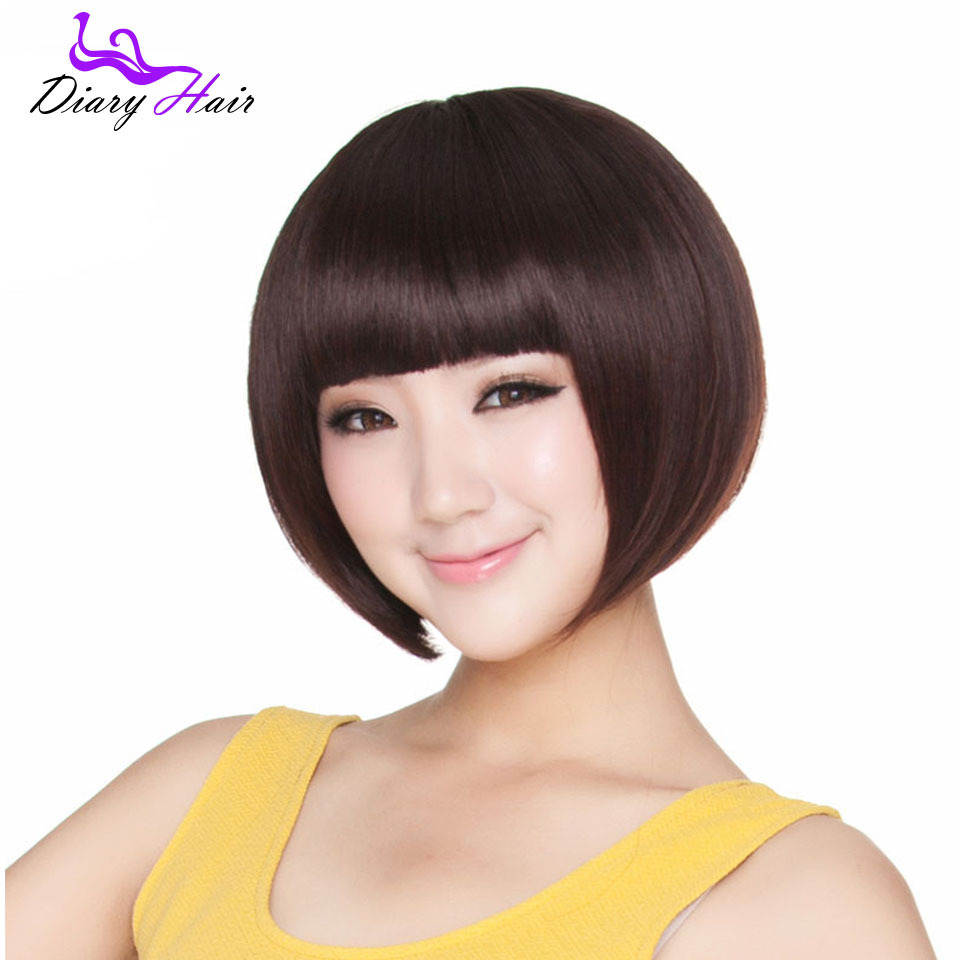 Short bob straight human Hair wigs 100% Unprocessed 6A grade cheap Brazilian remy Hair wigs black brown nature hair with bangs