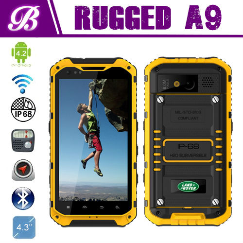"LANDROVER A9 4.3"" rugged phone RAM 1GB ROM 16GB Camera front 2.0MP back 8.0MP Quad Core MTK6589 GPS 3G NFC Rugged Phone"
