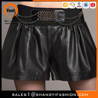 Wholesale Spring Series fashion skirt design metal waist decorated women trousers leather shorts pants