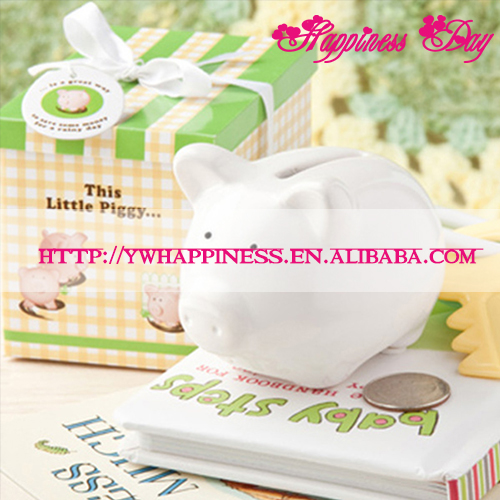 """This Little Piggy..."" Ceramic Mini-Piggy Bank (Coin bank) in Gift box Baby Shower Favors"