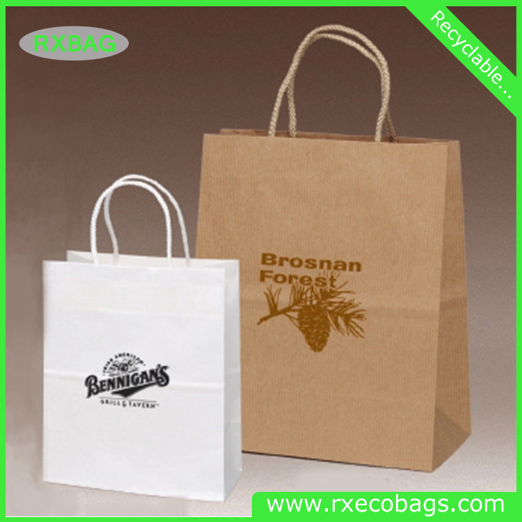 Customized Logo printed food grocery shopping brown kraft custom paper bag wholesale suppliers