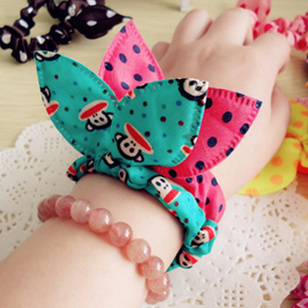 Fashion Girls Rabbit Ear Elastic Hair Band rope hair bands for girls