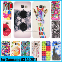 Alibaba hot ultra thin tpu soft cover UV printing pattern cute cartoon phone case for samsung A3 A5 2017