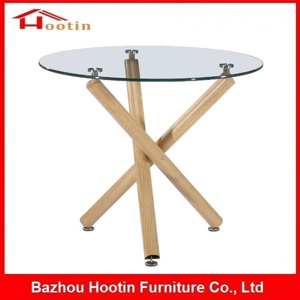 Dining Room No Folding Modern Style Transparent Tempered Round Glass Top Three Wood Leg Restaurant Party Dining Room Table Chair