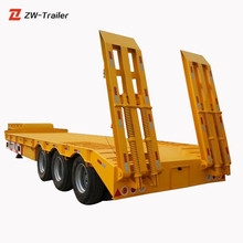 Exporting New Top Quality 80-100Tons Lowbed Semi Trailer and Hydraulic Lowering Trailer