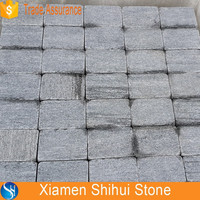 Hot Sale Granite Mesh Cobblestone Pavers , Flamed Granite Pavers