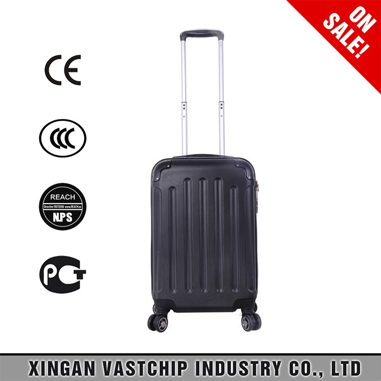 Cheap ABS black trolley travel bags hard plastic luggage travel case