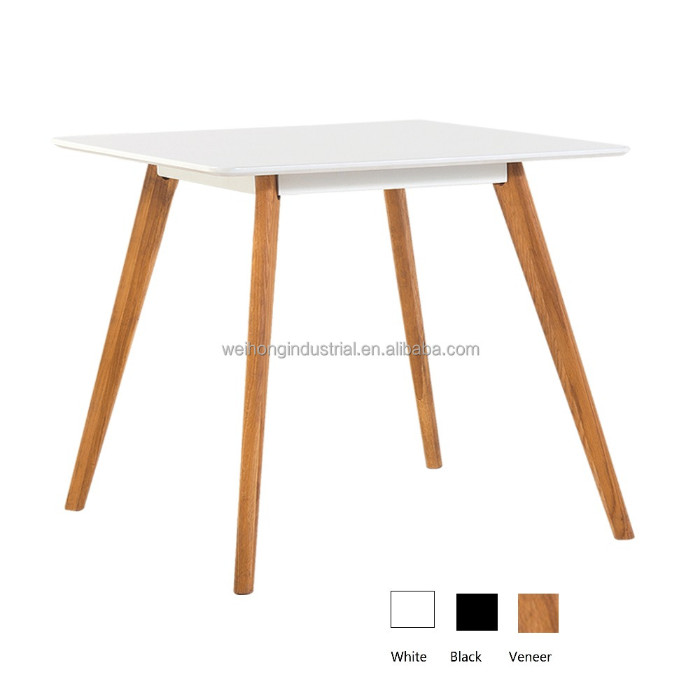 White Solid Oak Wood Dining Table
