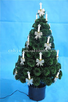 High Quality Silver Candle Decorative Potted Optic Fiber Artificial Christmas Tree
