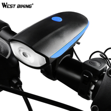 West Biking Cycling LED Head Light Waterproof Bicycle Lamp 120 DB Loud Horn Alarm Bell Warning Rechargeable LED Bike Front Light