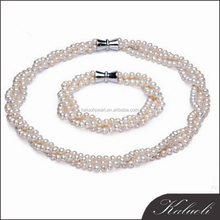 Zhuji multilayer necklace design tiny freshwater pearl wedding bridal moti jewelry set