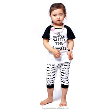 2 pcs cute deer pattern white and black casual soft cotton direct from manufacturer clothing for baby girl