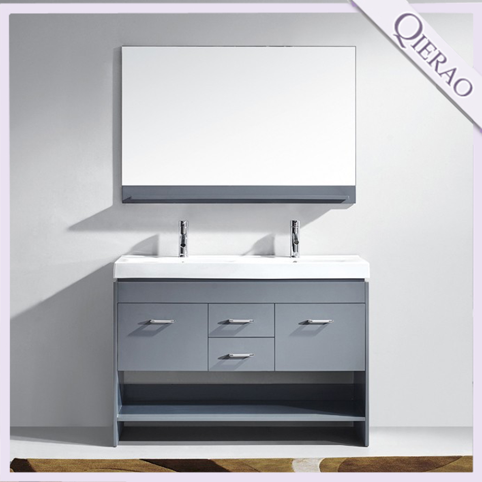 "Qierao 48"" GB-FM1701Modern Free Standing Double Vanity Bathroom Furniture Sets with Tops"