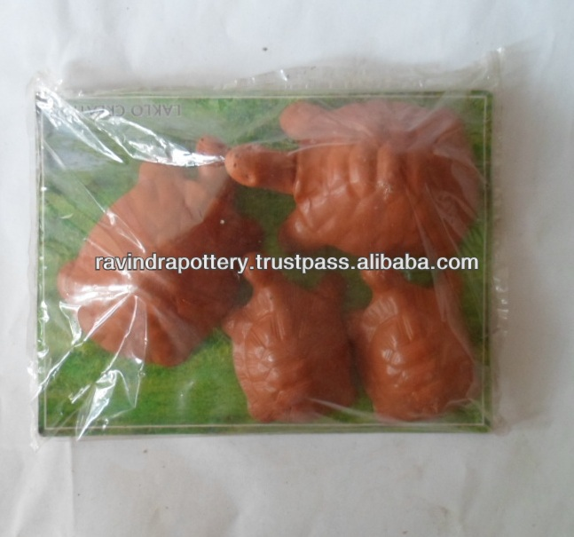 Red clay children painting turtles set