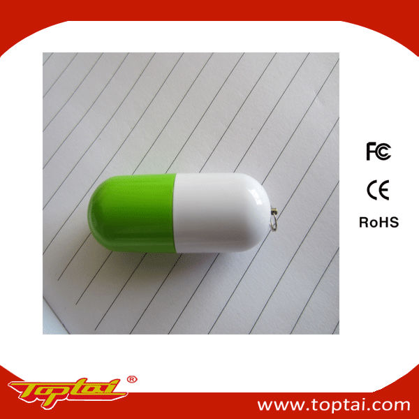 promotional pill-shaped usb flash drive with logo sticker