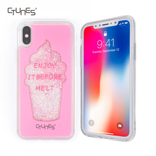 Ice Cream Cone Printed Luxury Glitter Sparkle Liquid Soft Rubber Gel TPU Protective Shell Bumper Case For Apple iPhone X