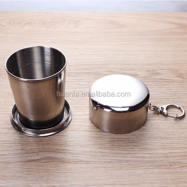 2017 hot new products of novelty S/M/L stainless steel collapsible shot cup with key chain