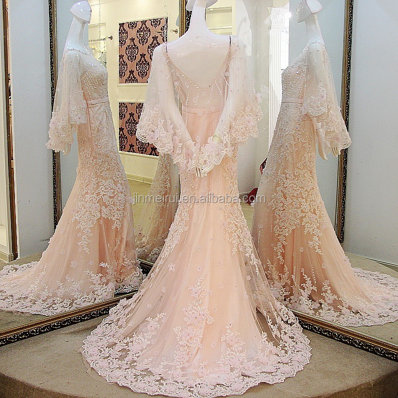 New Fashion Illusion Scoop Neck Light Pink Long Evening Dresses 2017 Romantic Formal Evening Dress Beadings Appliques Women Gown