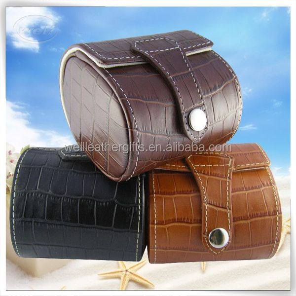 eco-friendly handmade pu leather wood watch cases for women