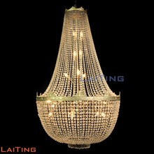 Big hanging crystal antique brass chandelier spare parts lighting pendant light 62063