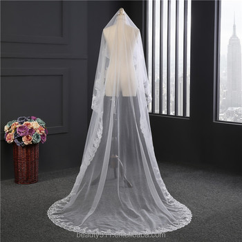 2017 wholesale new long Tulle Wedding Bridal Veils TwoTiers Tulle Cathedral Bridal Veils