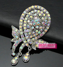 water drop sea shell AB crystal stone brooch