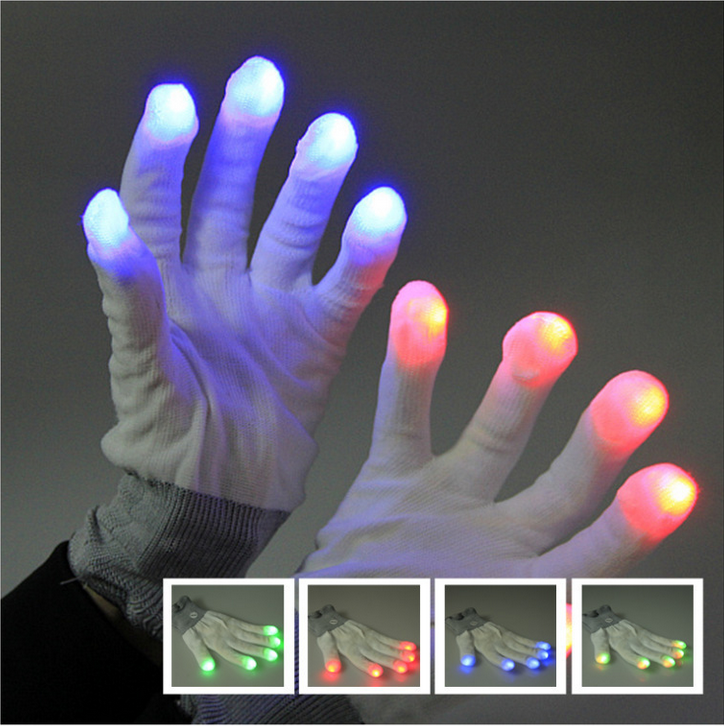 LED Colorful Rave Gloves 7 Colors Light Show led gloves